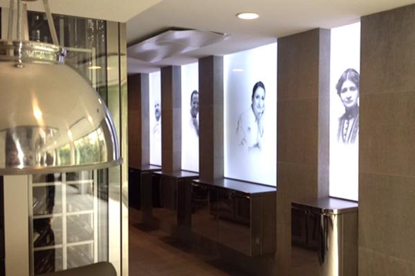 LUMIDALLE mettant en valeur les portraits du Restaurant PIC, à Valence.